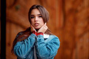 jeans jacket denim open mouth brown eyes portrait long hair women brunette