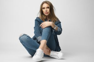jeans simple background women sneakers nikolay khvatov jean jacket sitting model brunette