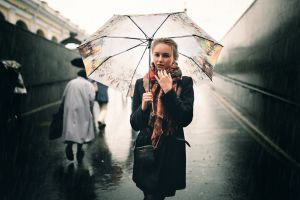 julia tavrina ivan proskurin brunette model umbrella women black coat