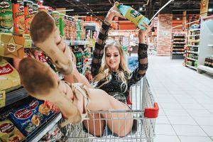katrin sarkazi super market women shopping cart blonde ass sitting high heels anton harisov smiling