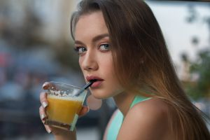 katya drinking glass dmitry sn looking at viewer face dmitry shulgin gray eyes earring drinking straw painted nails long hair outdoors women women outdoors model