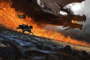 knight fantasy art digital art soldier flag alejandro olmedo warrior horse dragon fire
