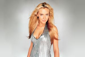 kristanna loken simple background blonde actress women halter top