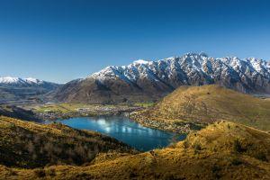 lake nature mountains fall landscape mountains queenstown
