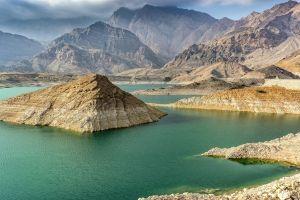 lake oman reservoir landscape water mountains