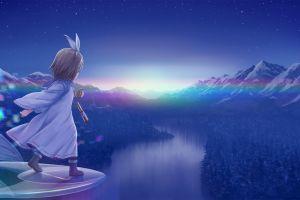 landscape anime girls sky stars mountain top river mountains anime