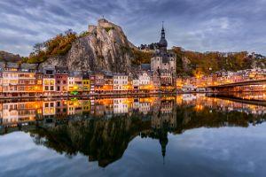landscape belgium reflection city plants mountains