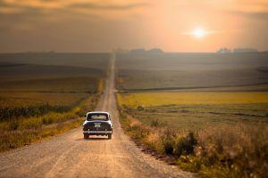 landscape car sunset horizon field road