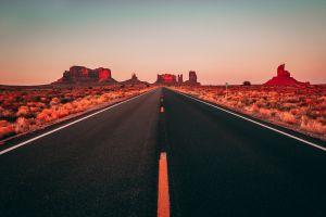 landscape desert usa clear sky road