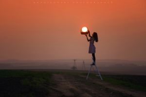 landscape environment ladder photography sun baskets brunette women