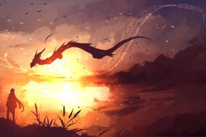 landscape fantasy art dragon digital art sky sunlight