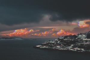 landscape vaporwave winter snow sea island horizon