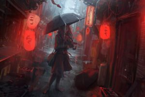 lantern andree wallin digital art redhead japan winter snow rain painting artwork city red women