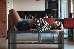 laying on back jean shorts kitchen striped sweaters blonde model women depth of field 500px