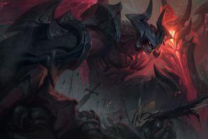 league of legends digital art aatrox armor demon war dark sword victor maury horns