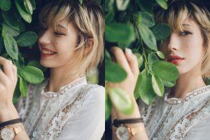 leaves blonde women outdoors women short hair smiling looking away model collage