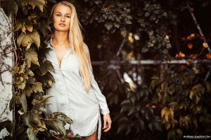 leaves model looking at viewer depth of field andreas-joachim lins women blonde women outdoors