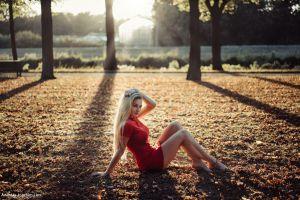 leaves rika berhorst andreas-joachim lins red dress sitting women outdoors trees blonde long hair women