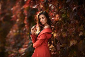 leaves women luigi malanetto fall plants model red coat ksenia women outdoors anastasia barmina brunette depth of field
