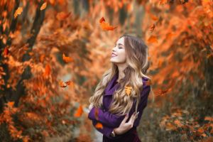 leaves women outdoors nature smiling red lipstick blonde purple coat arms crossed glamour purple clothing happy ombre hair fall glamour women happiness
