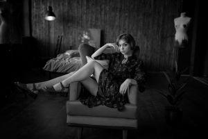 legs couch dress sitting monochrome sandals indoors georgy chernyadyev portrait bed short hair olya pushkina women women indoors model