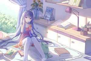 legs interior long hair anime anime girls room