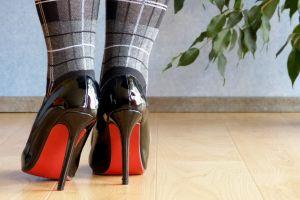 legs stiletto women depth of field louboutin leaves tiles black heels high heels socks