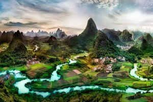 li river water mountains landscape nature china