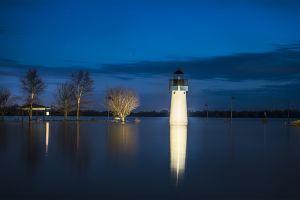 lighthouse flood landscape metropolis  blue lake reflection usa long exposure illinois lights trees clouds nature night