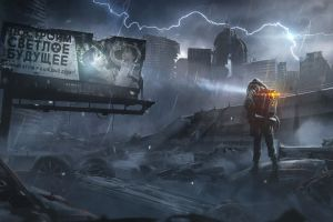 lightning pavel bondarenko ultra-wide apocalyptic disaster science fiction skull environment destruction artwork car digital art building