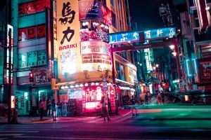 lights tokyo neon japan street night urban