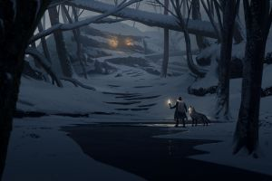 lights wolf forest environment torches snow adventurers