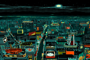 lobsters digital art pixels japanese characters pixelated night cityscape pixel art stars building moon