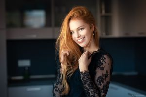 lods franck redhead black clothes women women indoors open mouth model pearl earrings black clothing smiling portrait happy holding hair long hair