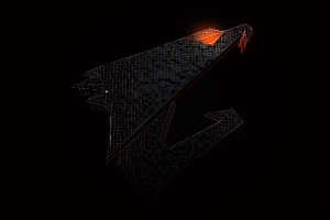 logo gigabyte technology aorus pc gaming simple background