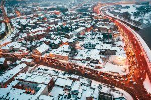 long exposure lights cityscape traffic winter street kaunas lithuania snow