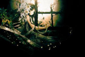 long hair anime anime girls flowers