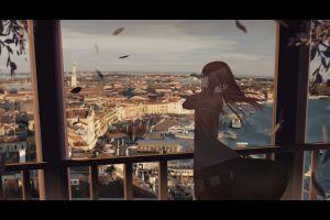 long hair brunette cityscape anime girls anime