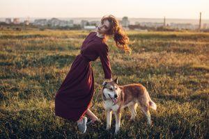 long hair long skirt depth of field women outdoors brunette dog women animals purple dresses