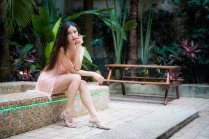 long hair model asian sitting dress brunette plants women outdoors women looking at viewer