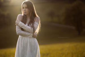 long hair model brunette lace stefan häusler women outdoors pierced ear viktoria stephanie earring women white dress