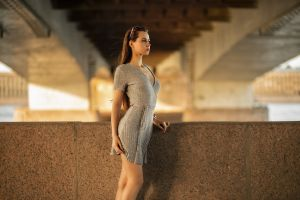 long hair model cleavage profile dress women standing sunglasses depth of field looking into the distance women outdoors brunette igor kuprianov grey dress