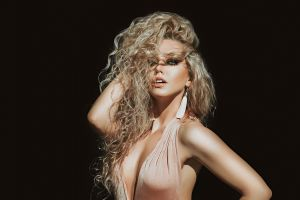 long hair portrait curly hair bare shoulders armpits hands on head anton harisov women blonde