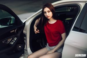long hair portrait t-shirt women with cars red tops women outdoors holding hair women jean shorts sitting straight hair