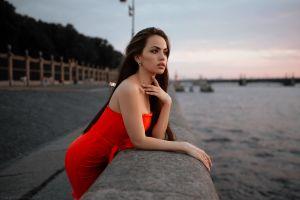long hair red dress depth of field portrait brunette looking into the distance women women outdoors