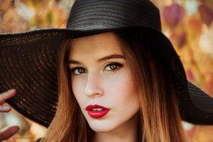looking at viewer brown eyes sergey efremov hat black hat women with hats model brunette red lipstick women