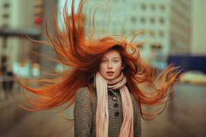 looking at viewer depth of field long hair scarf model blue eyes urban portrait overcoats women redhead