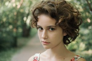 looking at viewer depth of field women women outdoors brunette model face portrait brown eyes