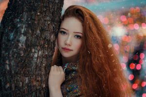 looking at viewer hakan erenler trees women outdoors women lights outdoors nose rings long hair model redhead portrait blue eyes depth of field