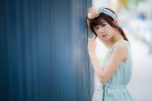 looking at viewer model women outdoors head band asian brunette depth of field women dress